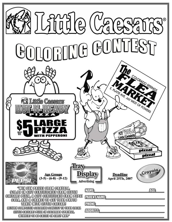 Tray Liner, Placemat and Pizza Box Advertising